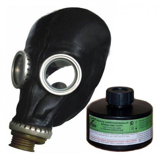 Фото Промышленный противогаз БРИЗ-3301 ППФ-95 М (м.К1Р1) с 1 маской ШМП